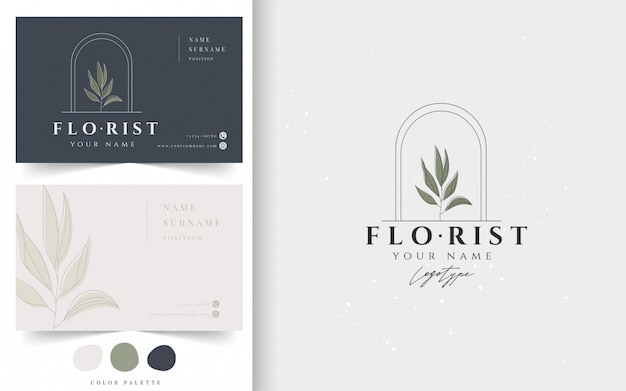 Botanical business card template.