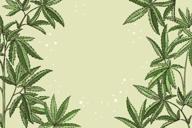 Botanical cannabis leaf wallpaper with empty space
