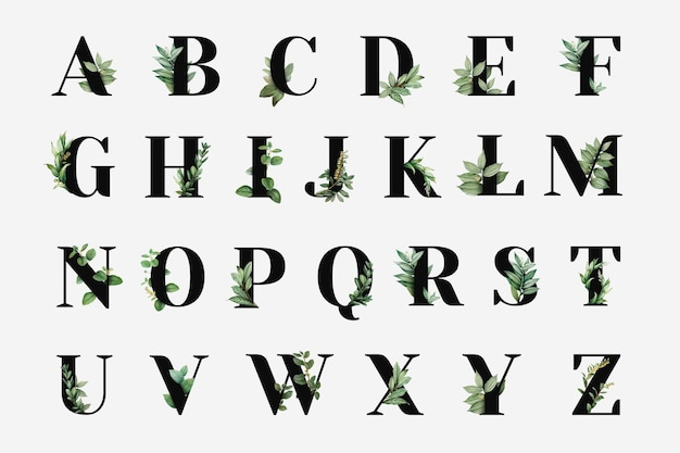 Botanical capital alphabet collection vector