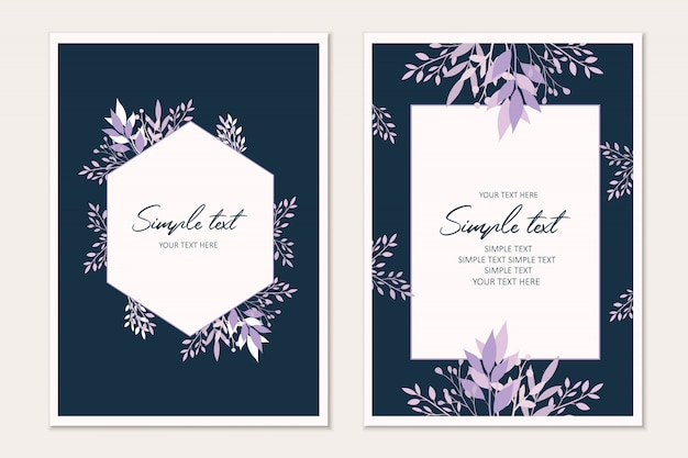 Botanical card template. invitation cards