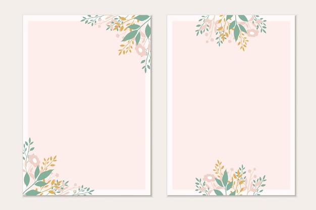 Botanical card template. invitation cards