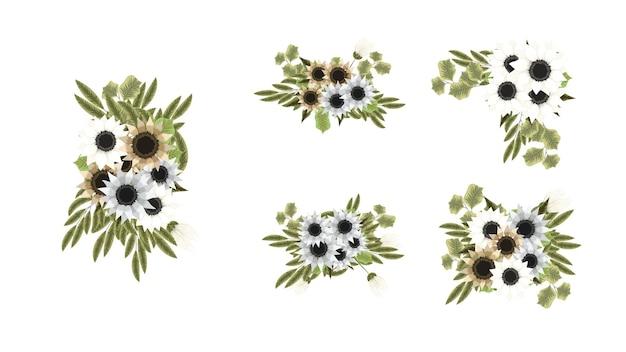 野生のフラワーアレンジメントの植物コレクションは、庭の花を設定します