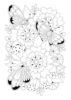 Botanical coloring page with three butterflies