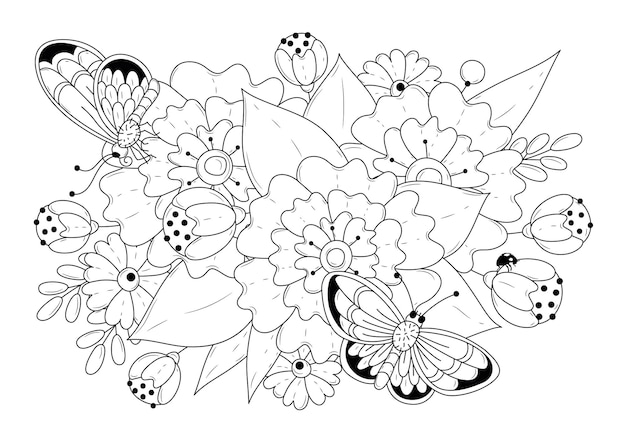 Botanical coloring page with two butterflies