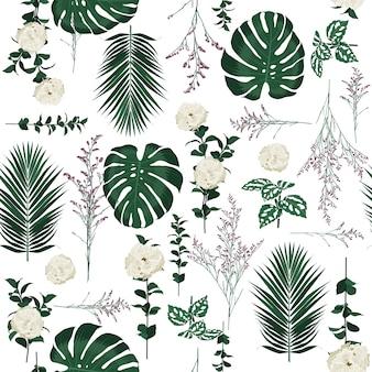 Ботанические украшения цветы бесшовные шаблон вектор