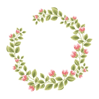 Botanical feminine frame with floral decorations for women Premium Vector