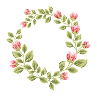 Botanical feminine frame with floral decorations for women