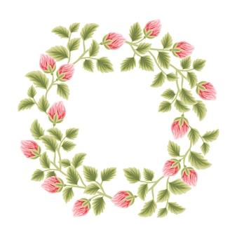 Botanical feminine frame with flower decorations for women