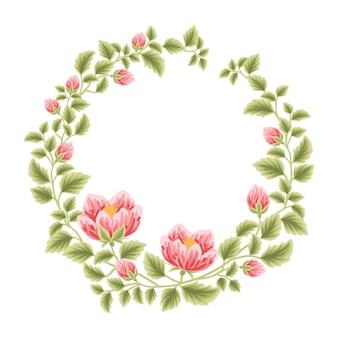 Botanical feminine frame with flower decorations for women Premium Vector