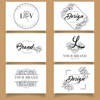 Botanical feminine logo template floral set with business card