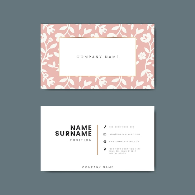 Botanical floral business card illustration
