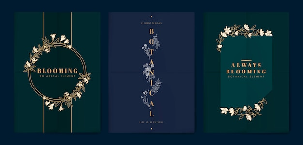 Botanical floral card set