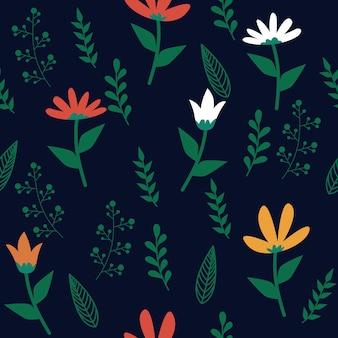 Botanical floral leaf seamless pattern