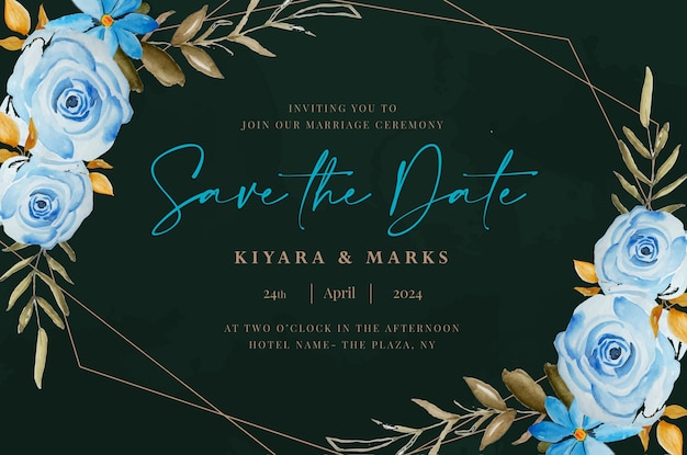 Botanical floral  watercolor wedding save the date card