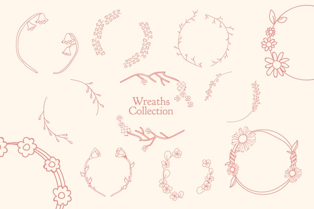 Botanical floral wreath set