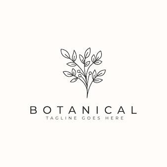 Шаблон логотипа ботанический цветок монолин