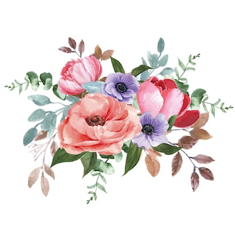 Botanical flower watercolor bouquet elegance blooming