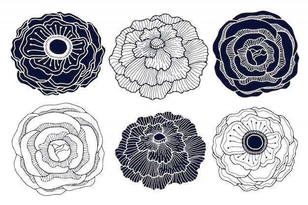 招待カードとブティックのロゴの植物の花の装飾