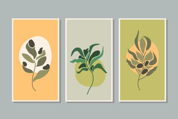 Ботаническая листва растений лист стены искусства векторный набор