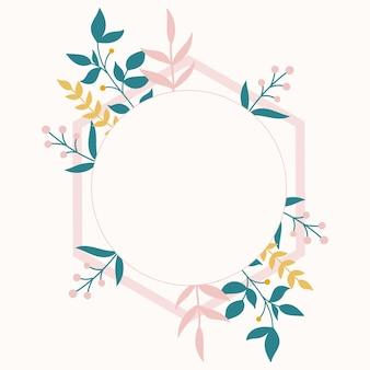 Ботаническая рамка в розовом цвете