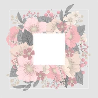 ピンクの花と植物のフレーム
