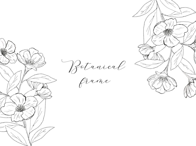 Botanical frame with trendy line art flowers