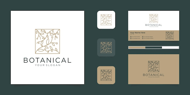 뷰티, 화장품, 요가 및 스파를위한 식물원 우아한 꽃 로고. 로고 디자인 및 명함