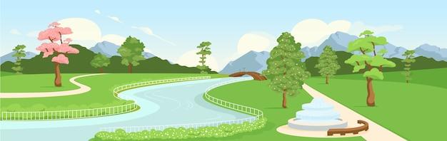 植物園フラットカラー。タウンエコゾーンパノラマビュー。市のレクリエーション公園。アーバングリーンエリア。背景に山や木々と川や通りの2d漫画の風景