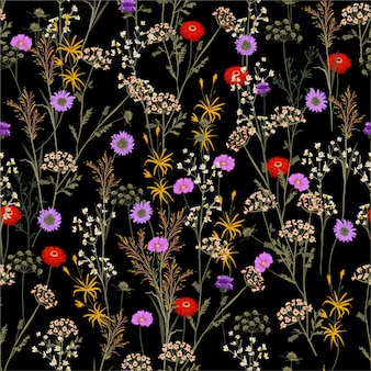 Botanical garden flower in the summer night seamless pattern