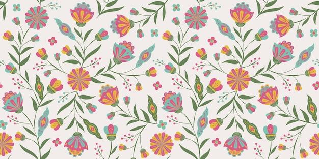 Botanical graphic folk art floral  seamless pattern