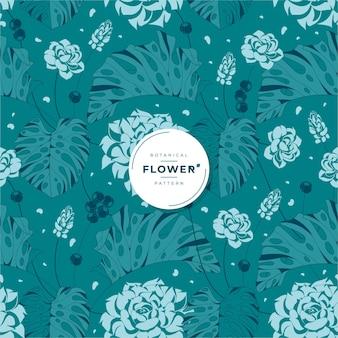 Botanical green flower seamless pattern