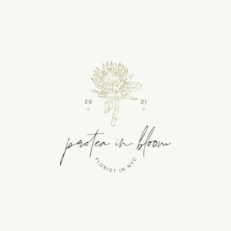 Botanical hand drawn line art cosmetics vector logo design template