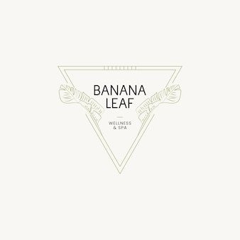 식물 손으로 그린 라인 아트 벡터 로고 디자인 서식 파일