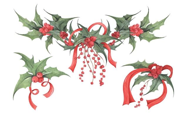 홀리 수채화 그림 크리스마스 장식 요소의 식물 그림
