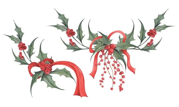 홀리 수채화 그림의 식물 그림크리스마스 장식 요소