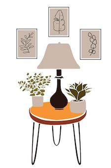 壁の植物画カットアウトスタイルの抽象的な要素を持つモダンな自由奔放に生きるインテリア