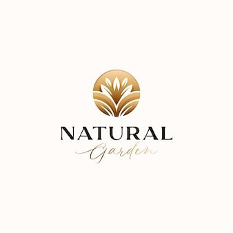 Шаблон логотипа золотой градиент ботанический лист круг, изолированные на белом фоне