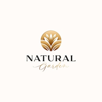 Botanical leaf circle gold gradient logo template isolated in white background