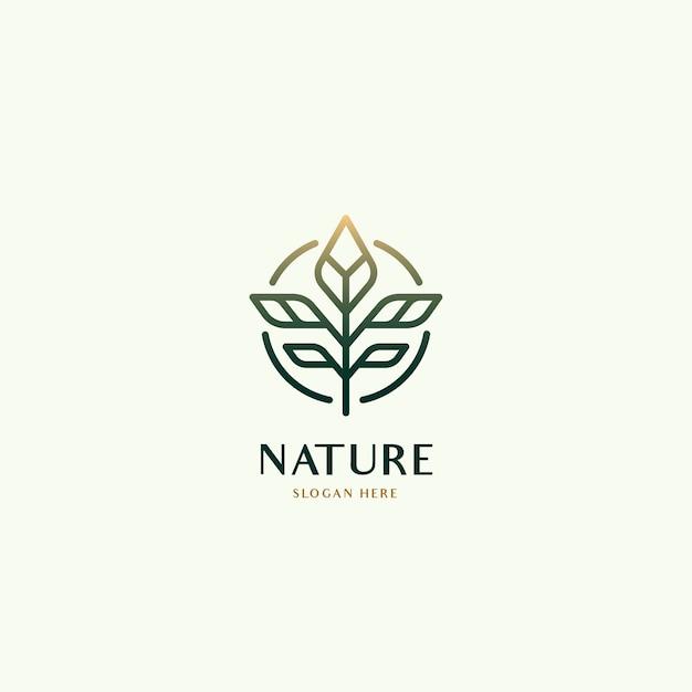식물 잎 천연 유기농 럭셔리 로고 컨셉