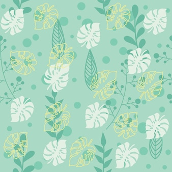 Botanical leaf pattern with green background