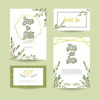 Botanical leaf wedding invitation