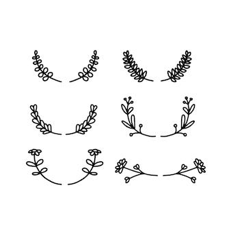 Botanical leaves flower wedding elements wreath vector set