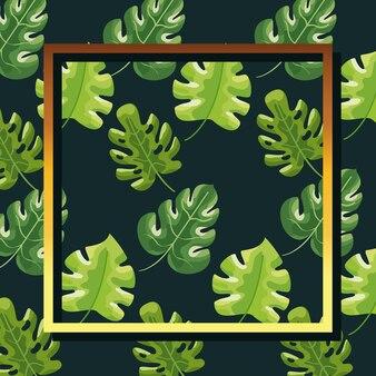 Ботанические листья бесшовные модели с рамкой