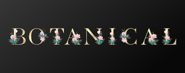 Botanical letters design in gold color with beautiful flower on black background.