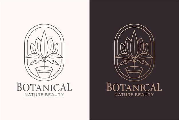 라인 아트 스타일의 식물 로고 디자인.