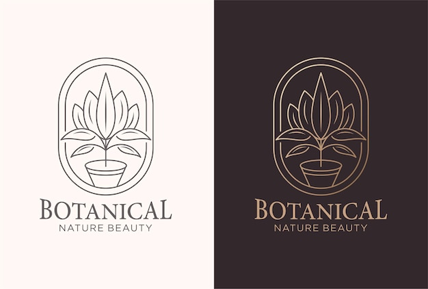 Botanical logo design in a line art style.