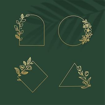 Элемент золотой рамы с ботаническим логотипом на фоне зеленых листьев