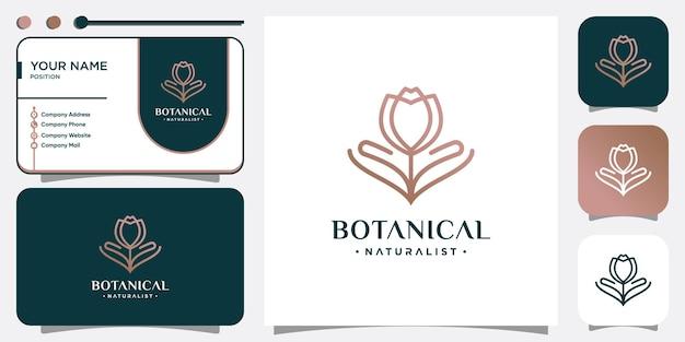 Ботанический логотип с креативной цветочной концепцией premium векторы