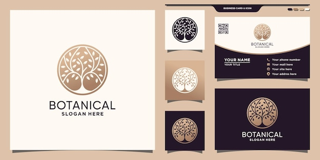 Botanical logo with negative space circle concept and business card design premium vector