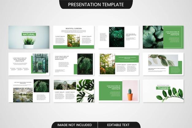 植物の最小限のパワーポイントのプレゼンテーションテンプレートのデザイン